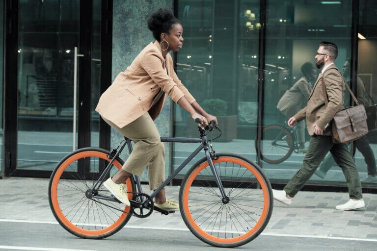 Woman riding a bicycle to work